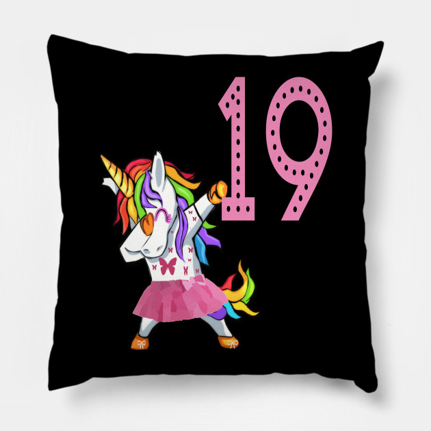 19th Birthday Unicorn Girl For 19 Years Old Woman Lady Pillow