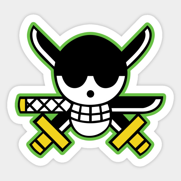 Roronoa zoro pirates logo roronoa zoro sticker teepublic - One piece logo zoro ...