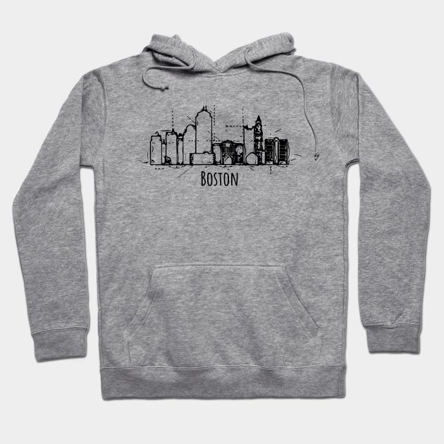 Boston Skyline Sweatshirt Vintage Souvenir Travel Neon Print US City