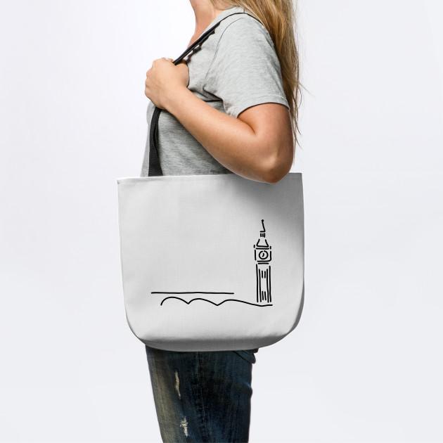 My Daily Women Tote Shoulder Bag London Big Ben Doodle Handbag Large