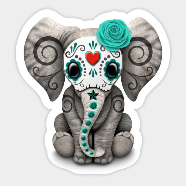 Day of the Dead Decal Elephant Dia De Los Muertos Elphante Mexican Made in USA