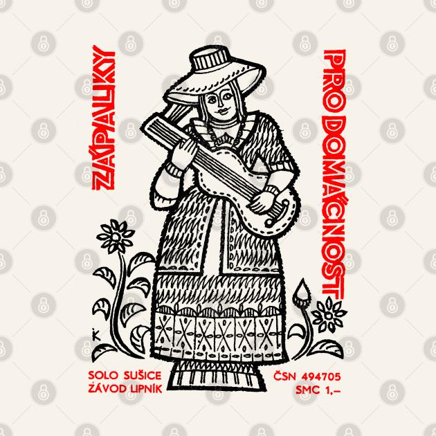 Vintage Czech Matchbook Label Folkart Design