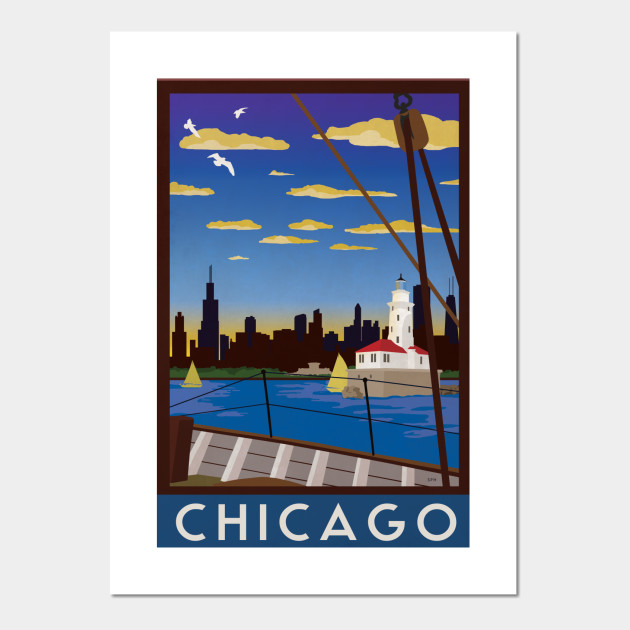 a3d875f38bd Chicago Art Deco Retro Travel Poster - Chicago - Posters and Art ...