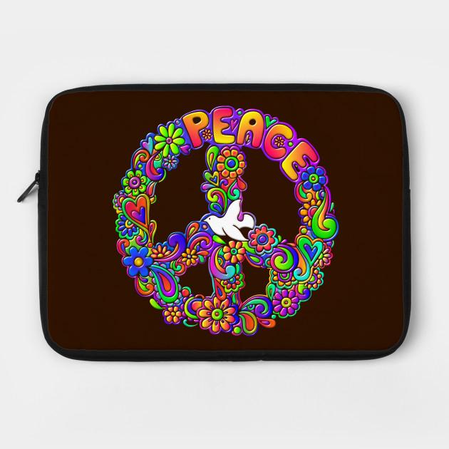 Hippie Flower Power Peace Sign Peace Symbol Flower Laptop Case