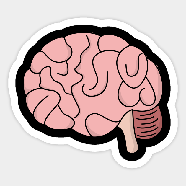 Pink Brain Cartoon Cartoon Sticker Teepublic