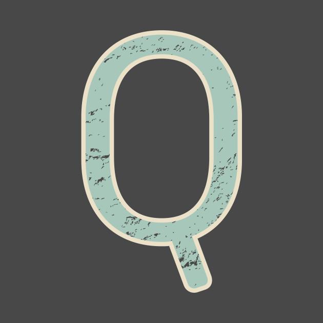 Letter Q Vintage Distressed Initial Monogram