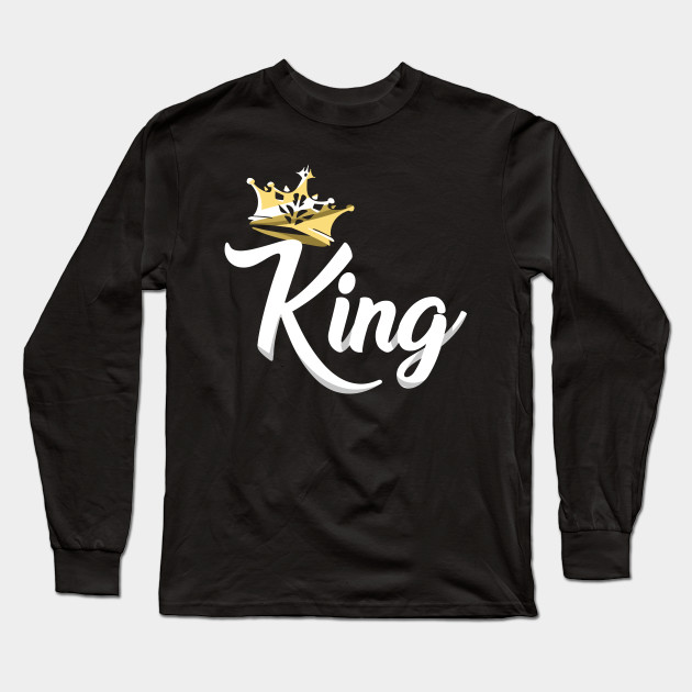 6b4b6490 King and Queen Tshirts - King Design on Tshirt For Men Long Sleeve T-Shirt