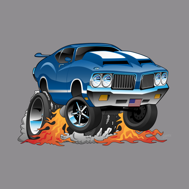 Classic Seventies American Muscle Car Hot Rod Cartoon