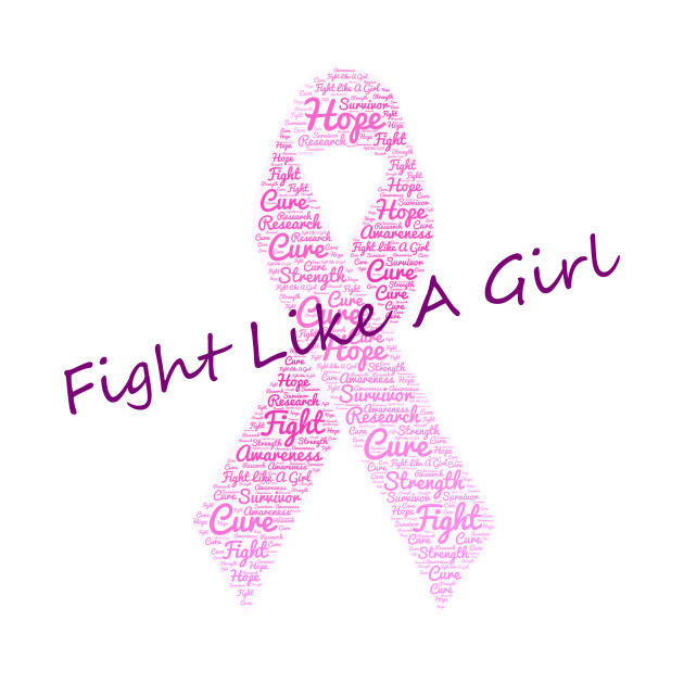 Fight Like A Girl Breast Cancer Ribbon Word Cloud - Breast Cancer ... 7205eb7ea