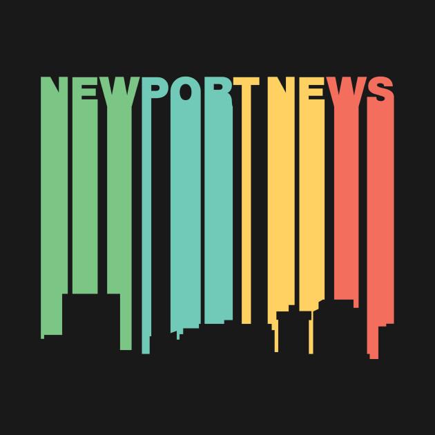 Retro 1970s Style Newport News Virginia Skyline Newport News
