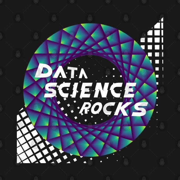 Data Science Rocks   Retro Checkered Flag Racing Logo Blue Green Yellow