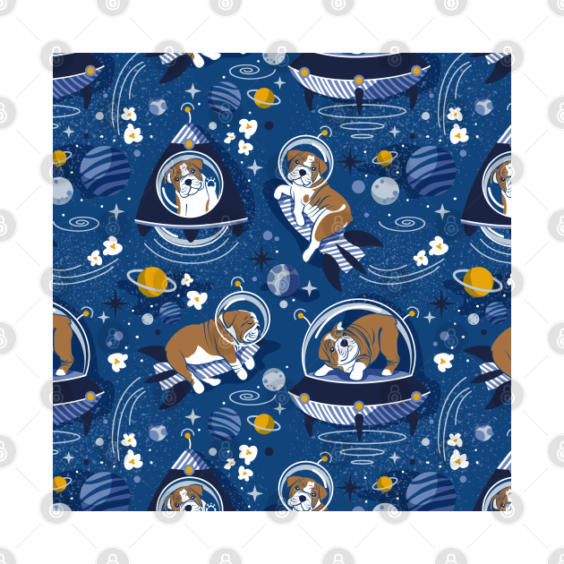 Intergalactic doggie dreams // pattern // classic blue background white and bronze English Bulldogs goldenrod yellow denim and pastel blue planets and space ships