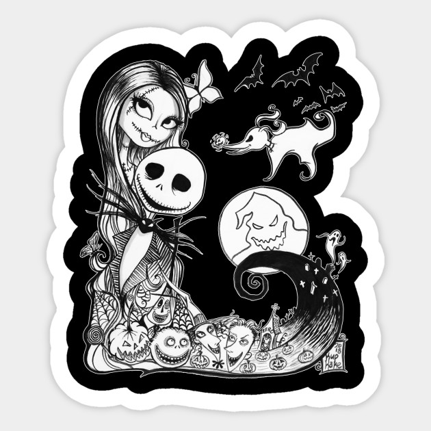 Nightmare Before Christmas Images Black And White.Jack And Sally S Nightmare