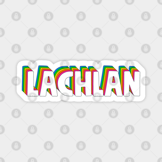 Hello My Name Is Lachlan Rainbow Name Tag