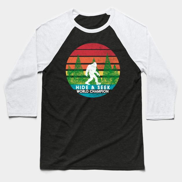 e50e20701d91 Vintage Retro Hide and Seek Champion Camping Bigfoot Tshirt Baseball T-Shirt