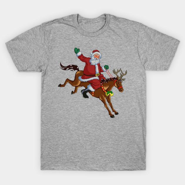 Christmas Horse Drawing.Horse Riding Santa Vintage Drawing Art T Shirt Horses Lover Christmas Funny Gifts Horse Mom Dad Xmas Gift Idea