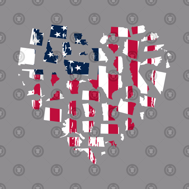 American 50 States Heart Design