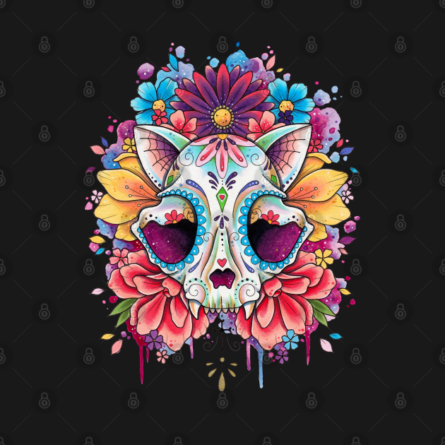 Floral Candy Cat Skull Design by Lorna Laine