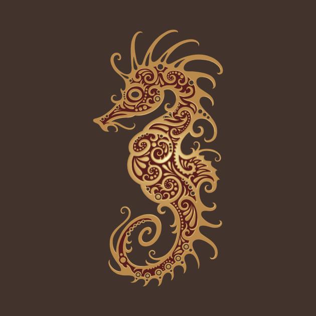 intricate brown tribal seahorse design seahorse t shirt teepublic