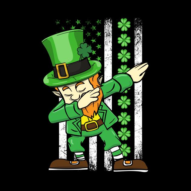 Dabbing Leprechaun Patricks Day Shamrock Irish American Flag
