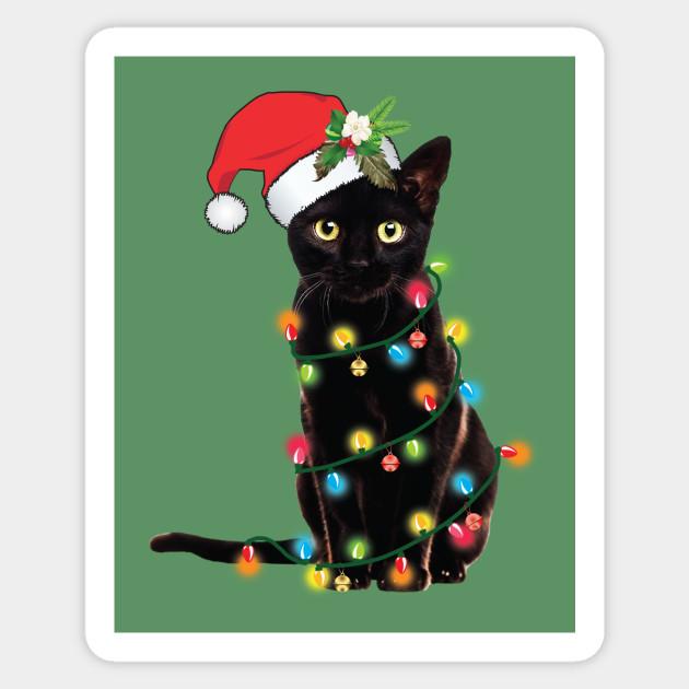 Christmas Tree Made Of Black Cats: Santa Black Cat Tangled Up In Lights Christmas Santa