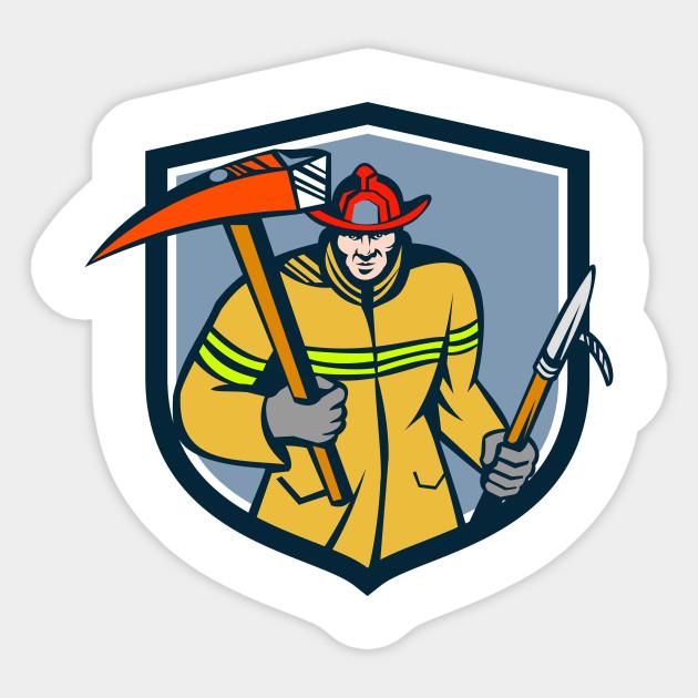 fireman firefighter fire axe hook crest retro emergency worker