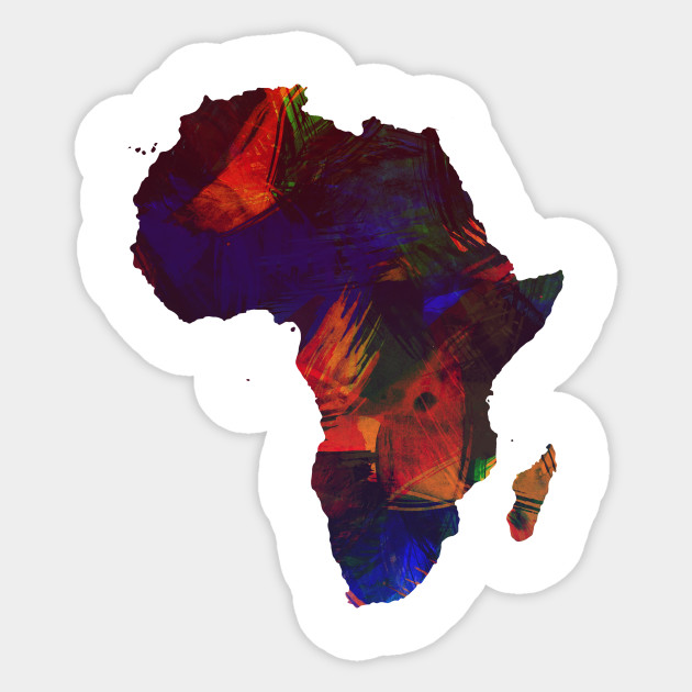 Africa Colorful Africa Continent Art Map   Africa   Sticker