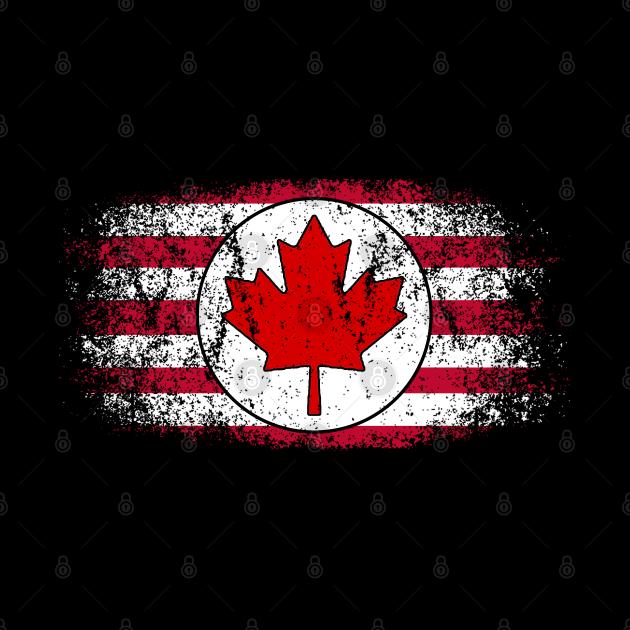 American / Canadian Flag - Vintage Distressed