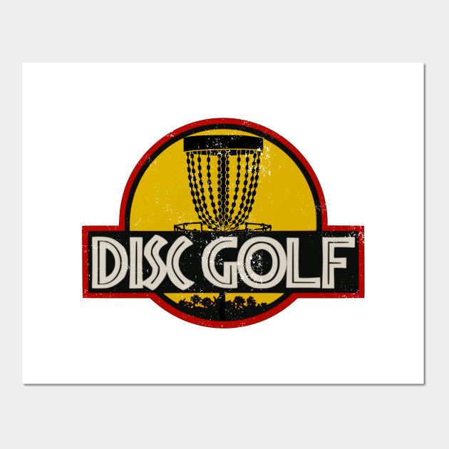 Cool Jurassic Disc Golf Basket Logo Satire Disc Golf Posters