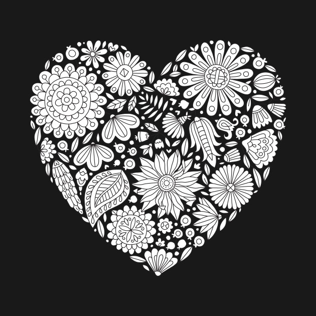 flowers heart coloring page flourish and bloom