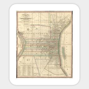 Historical Philadelphia Map Stickers TeePublic - Historic philadelphia map