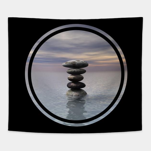 Stone Balancing Power Modern Tapestry Teepublic