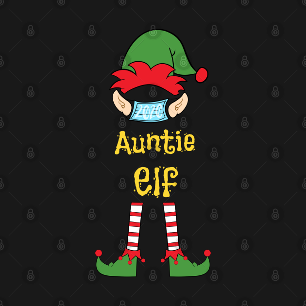 2020 Masked Christmas Elf Family Group Matching Shirts -  Auntie