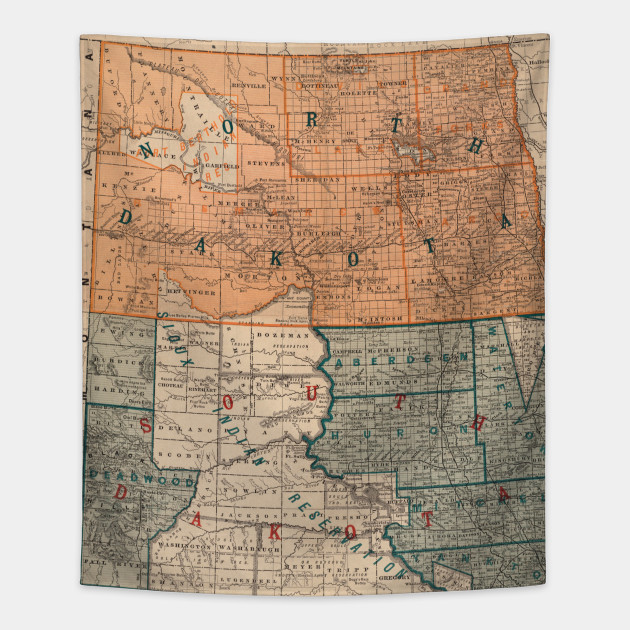 Vintage Map of North and South Dakota (1886) - Dakotas Map ...