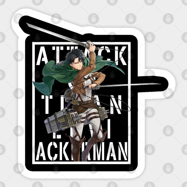 Attack On Titan Levi Ackerman Background Text White Levi Ackerman Sticker Teepublic