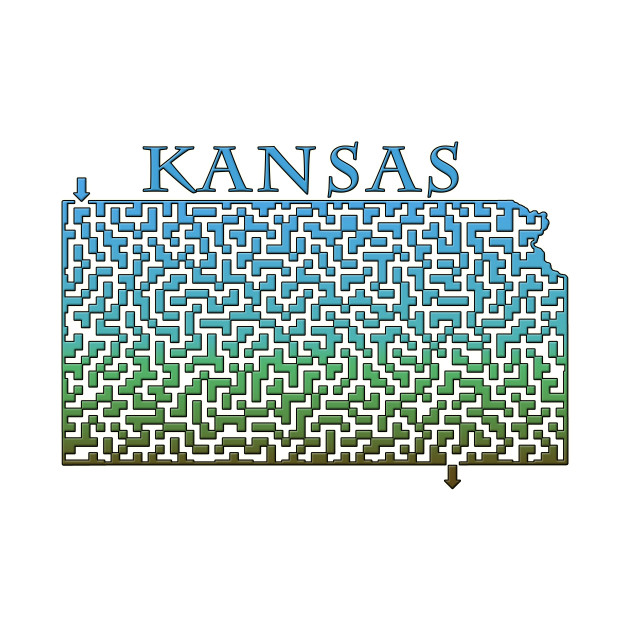 State of Kansas Colorful Maze