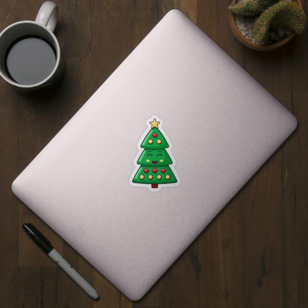 Cartoon Kawaii Christmas Tree With Smiling Eyes Christmas Tree Funny Sticker Teepublic Collection of christmas tree cartoon images (39). cartoon kawaii christmas tree with smiling eyes