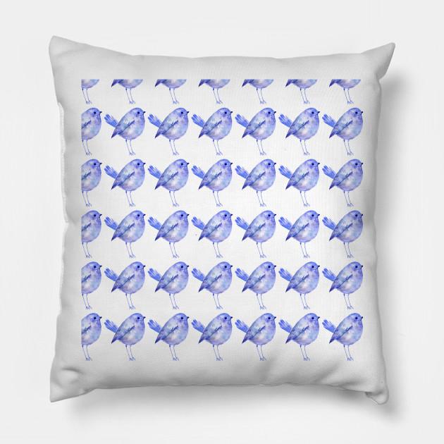 Blue Bird Pattern in Blue Watercolor