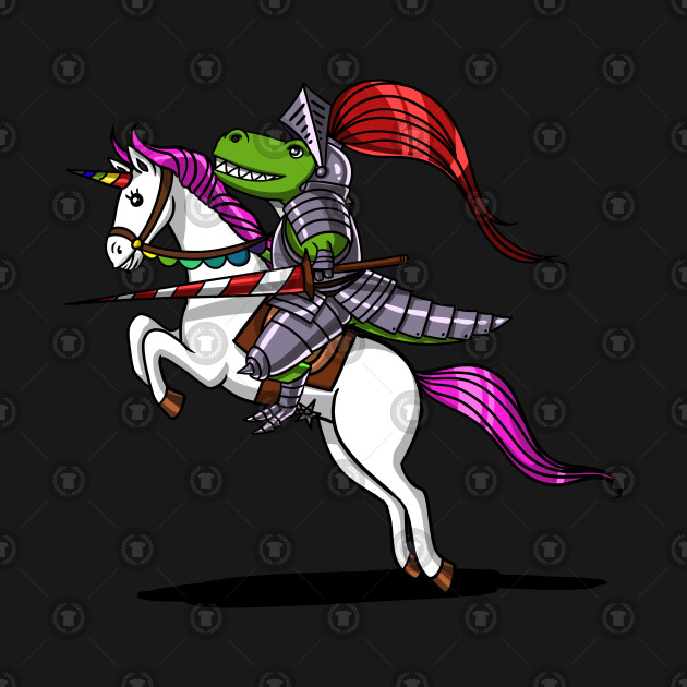 T-Rex Dinosaur Knight Riding Magical Unicorn