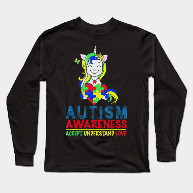 Autism Awareness Unicorn Cute Puzzles Long Sleeve T-Shirt