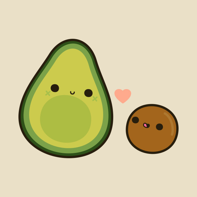 Cute Avocado And Stone - Avocado - T-Shirt