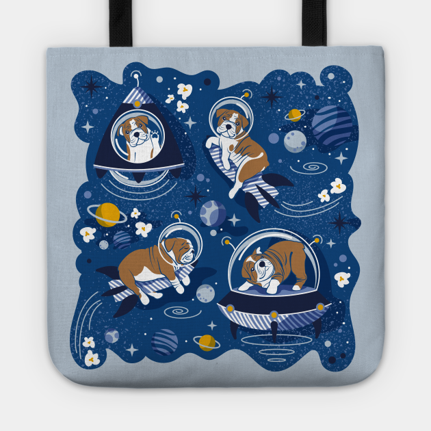 Intergalactic doggie dreams // spot illustration // classic blue background white and bronze English Bulldogs goldenrod yellow denim and pastel blue planets and space ships