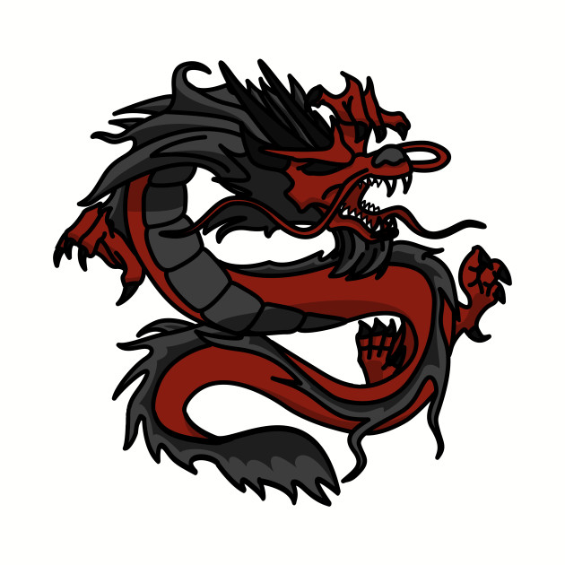 Chinese Dragon Long Red Black Angry Powerful Creature