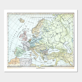 Europe Map Posters And Art Prints TeePublic - Vintage europe map poster