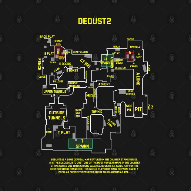T-Shirt Csgo dedust 2 map