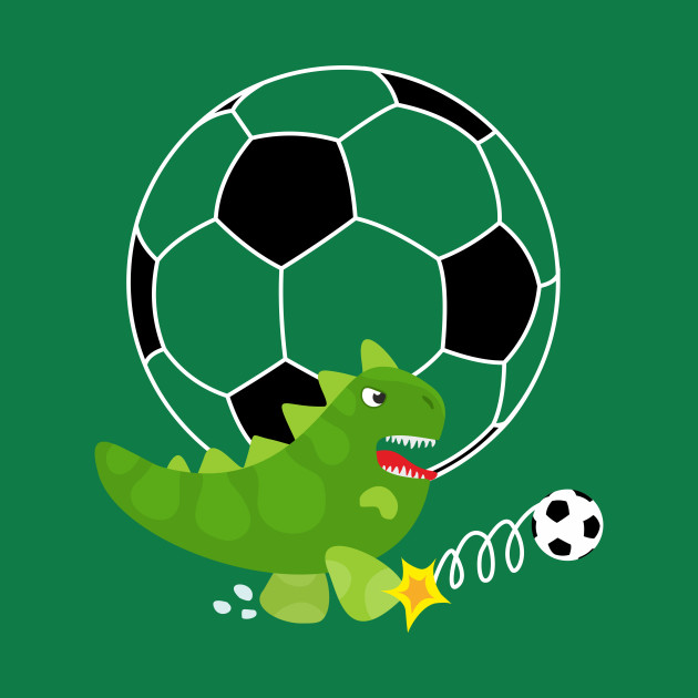 Cute Dinosaur Playing Soccer - Navy Background