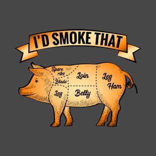 BBQ Time I'd Smoke That Pig t-shirts