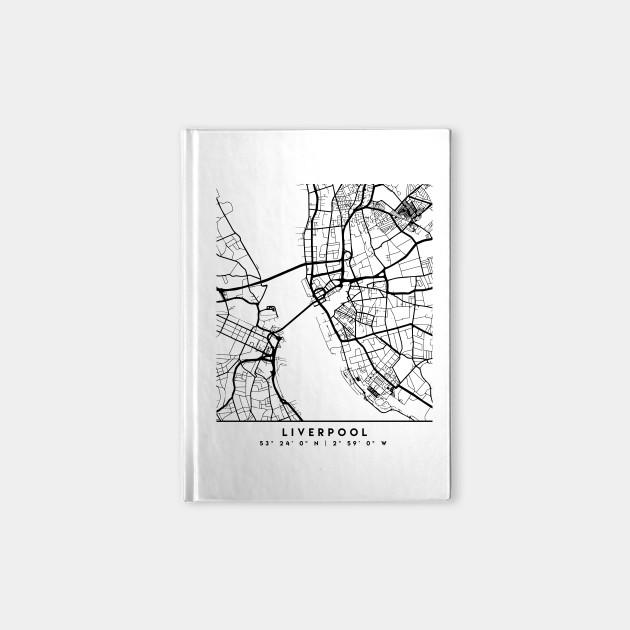 LIVERPOOL ENGLAND BLACK CITY STREET MAP ART