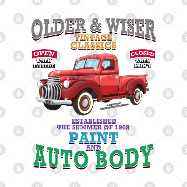 Older & Wiser Auto Body Classic Car Garage Hot Rod Novelty Gift