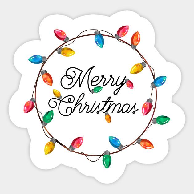 Merry Christmas Wreath of Retro Christmas Lights ... - Merry Christmas Wreath Of Retro Christmas Lights - Christmas